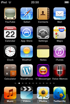 tampilan home screen iOS 4