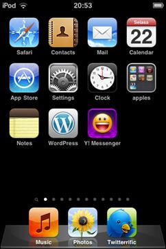 """tampilan """"folder"""" di springboard, lihat yang bernama """"apples"""""""